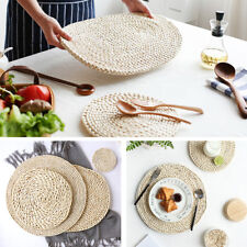 FJ- RATTAN WEAVE ROUND OVAL PLACEMAT DINING TABLE HEAT INSULATION MAT STUNNING