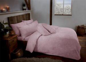 Blush Pink Teddy Fleece Fur Soft Cosy Duvet Quilt Cover Set Inc Pillowcases