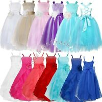 Flower Girls Princess Pageant Wedding Party Formal Birthday Toddlers Tulle Dress