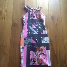 "Next petite floral dress size 8 bodycon 26""waist holiday"