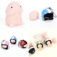 Practical Jokes Funny Squishy Squeeze Helmet Keychain Key Ring Toy Bag Pendant H