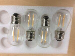 4 x LED S14 String Festoon Lights 2W LED Edison Filament Bulbs E27 Sockets