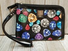 Nine And Co Womens Wristlet Wallet Diamonds Themed Black - B55