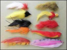 Pike Fishing Flies, 10 Mixed Pike Flies, Sizes 1/0 & 2/0 Strong Hooks,