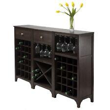 Winsome Ancona 3-Pc Wine Cabinet Modular Set-Espresso- 92367 Wine Cabinet NEW
