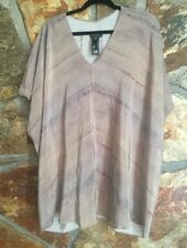 Eileen Fisher Blouse top tunic Woman beige brown 100% silk size S (A4)