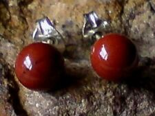STERLING SILVER 6mm BALL SHAPED STUD EARRINGS with JASPER CABOCHON STONES £7.95