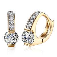 Women 18K Yellow Gold Plated Crystal Zircon Buckle Hoop Huggie Earrings Jewelry