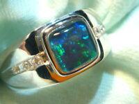 Mens Opal Ring Sterling Silver, Natural Opal Triplet. 8mm Square . item 110795