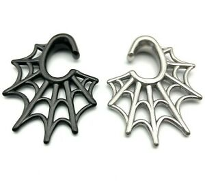 Spider Webb Surgical Steel,  Black, Silver Ear Weights Hangers 8mm+ (0GA+) Gauge