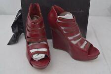 Michael Antonio Studio Women's Gatsby Zip Back Wedge Sandal Heels, Red, 6.5M