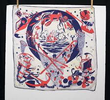 Vintage Nautical Motif Silk Scarf Red White Navy Blue Sailing Fishing Square