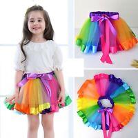 Fashion Kids Girls Rainbow Fancy Tutu Lace Tulle Petti Ballet Costume Skirt 2-10