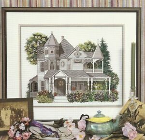 GRAND OLD VICTORIAN-Beautiful House--Flowers-Trees--Counted Cross Stitch Pattern