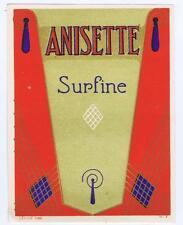 Anisette, Surfine, art deco, antique liquor bottle label #19