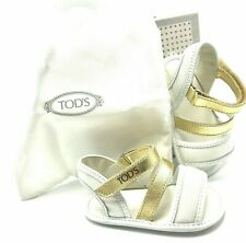 TOD'S BABY Italian Leather Sandals in Gold and White US SZ 3 - BRAND NEW!
