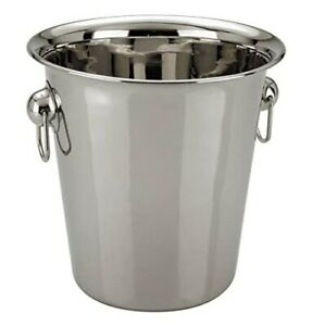 4L Stainless Steel Ice Bucket Champagne Wine Cooler with Handles Bar Pub Party