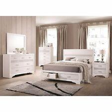BLING 4 PC WHITE AND 3D FOIL KING STORAGE N/S DRESSER BED BEDROOM FURNITURE SET