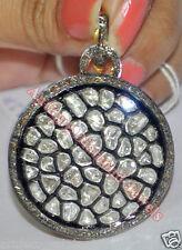 3.78cts POLKI ROSE CUT DIAMOND ANTIQUE VICTORIAN LOOK 925 SILVER PENDANT