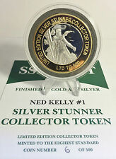 """NED KELLY #1 43mm """"SILVER STUNNER"""" C/TOR TOKEN/COIN C.O.A. ONLY 500 $50 at MINT"""