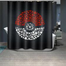 "79"" Pokemon Black Background Polyester Fabric Shower Curtain Set Bathroom Decor"