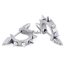 2pcs Men's Punk Rock Stainless Steel Spike Rivet Huggie Hoop Ear Studs Earrings