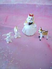 VTG Mini Miniature Snow White Fawn Bunny Girl Nursery Rhyme Bone China Figurine