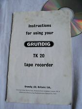 Instructions reel to reel tape recorder GRUNDIG TK20  CD/Email