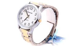 Easy to Reader Numbers Night Light Lighted,Two-Tone & Silver Quartz Watch