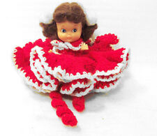 "Doll w Red & White Knitted Ruffle Dress 5"" Tall Brown Hair PomPom Pigtails"