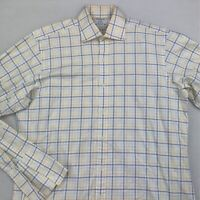 T M Lewin Mens Luxury Dress Shirt White Blue Plaid French Cuff 100% Cotton 16 36