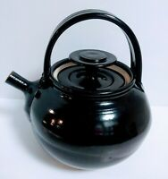 "Stoneware Pottery Studio Art Signed Teapot Kettle Black Glaze 8"" New"