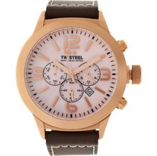 TW Steel Mens Watch Marc Coblen Rose Gold White Leather Face & Strap