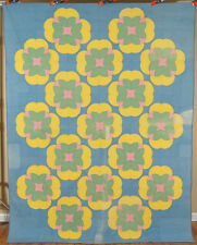 "RARE Vintage 30's Pieced ""Water Lily"" Lotus Antique Quilt ~NICE QUILTING!"