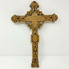 "Hand Carved Wooden Jesus Christ Cross Original Hand Made by an Artist 14""H.X10""W"