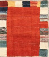 One-of-a-Kind Thick Pile Modern Gabbe Shiiraz Hand-Knotted 4x5 Wool Rug