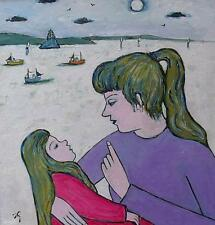 Fine Joan Gillchrest Original Oil Painting - Mother And Child (Cornish Art)