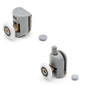 Set of 4 Single Shower Door Rollers/Runners/Wheels/Pulleys 23mm wheel Dia L001
