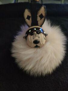 MCM Beige Bunny Fur Charm Keychain