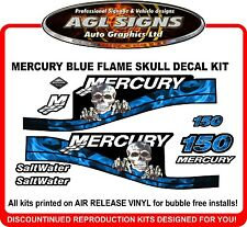 MERCURY 150 Saltwater Blue skull flame outboard decals 125 175 200 250 HP