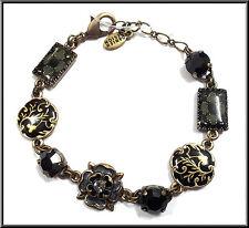 Pilgrim Bracelet 16k Gold Plated Black Swarovski Crystals Enamel Flowers