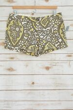 NWT Old Navy - Green YELLOW paisley low rise COTTON blend chino shorts, size 8