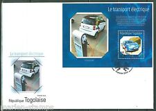 TOGO  2014 ELECTRIC VEHICLES NISSAN LEAF CAR  SOUVENIR  SHEET FIRST DAY COVER