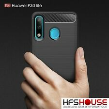 POUR HUAWEI P30 LITE COQUE HOUSSE ETUI CARBONE NOIR SILICONE GEL HOESJE COVER