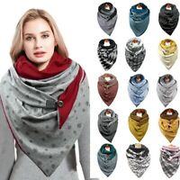 uk Fashion Winter Scarf For Women Dotted Plain Print Button Soft Shawl Casual