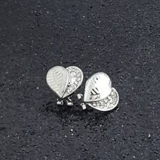 18K White Gold Filled Unique Italian 18ct GF Diamond Heart Earrings 15mm