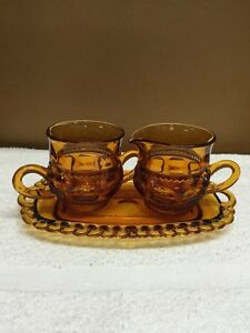 Vintage Amber Glass Creamer And Sugar Bowl On Matching Tray