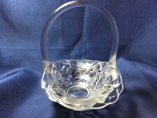 Vintage FENTON CLEAR FROSTED SATIN GLASS HANDLED BASKET WITH FLOWERS PATTERN