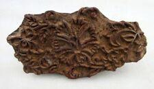 Vintage Old Hand Carved Leaf Figure Wooden Clothe Textile Printing Block Stamp