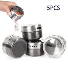 5 Teile Magnetische Gewürzdosen Edelstahl Vorratsbehälter Gläser Deckel Kit